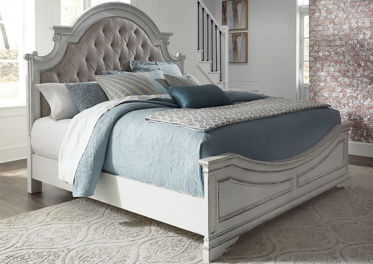 magnolia manor queen size upholstered bed white