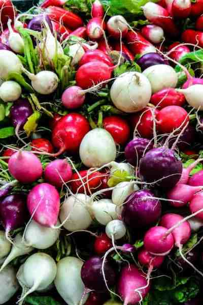 a picture of the many types of radishes