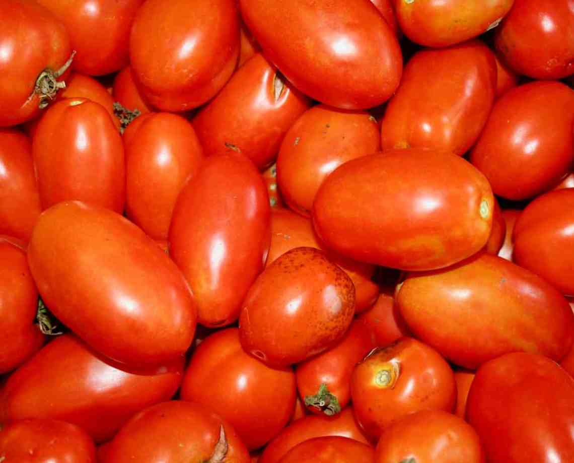 a basket of Roma tomatoes
