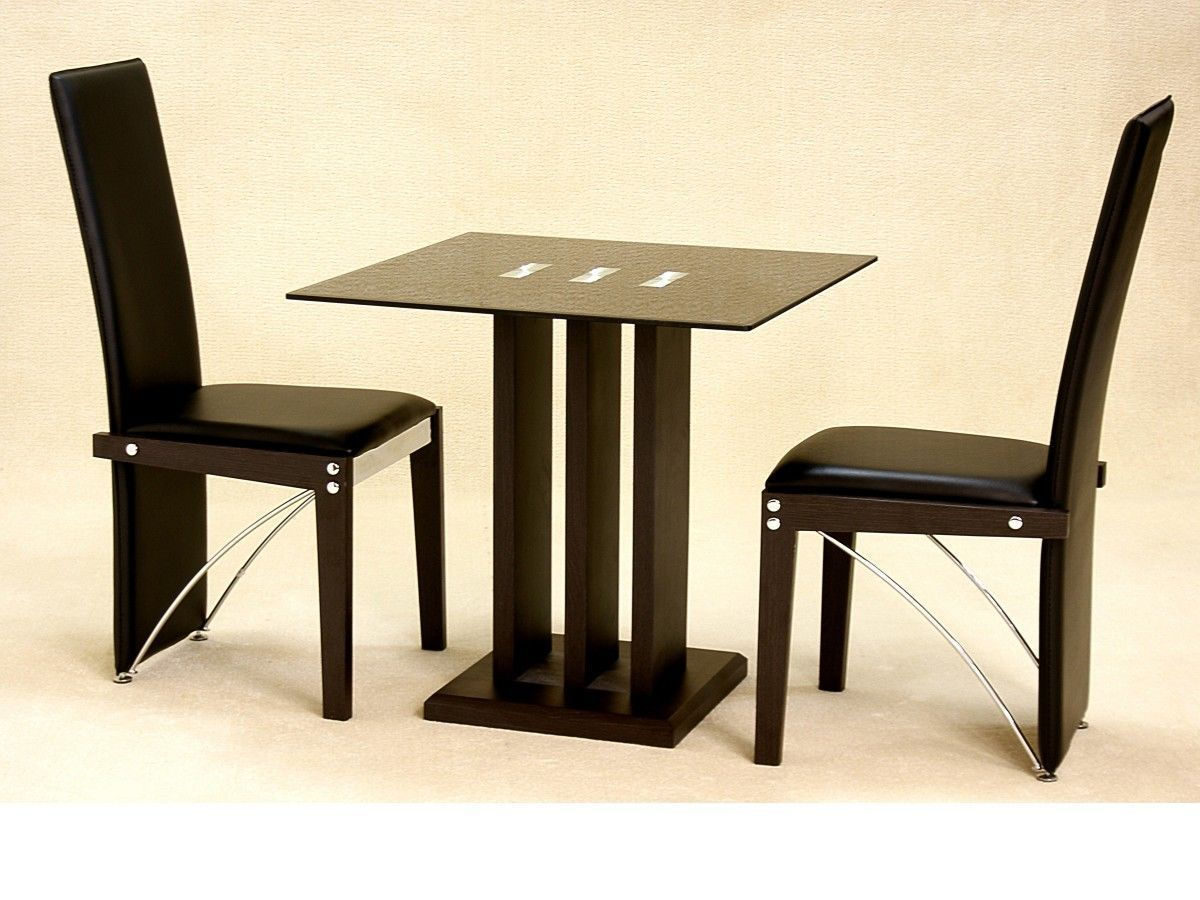 Small Square Glass Dining Table And 2 Chairs In Black