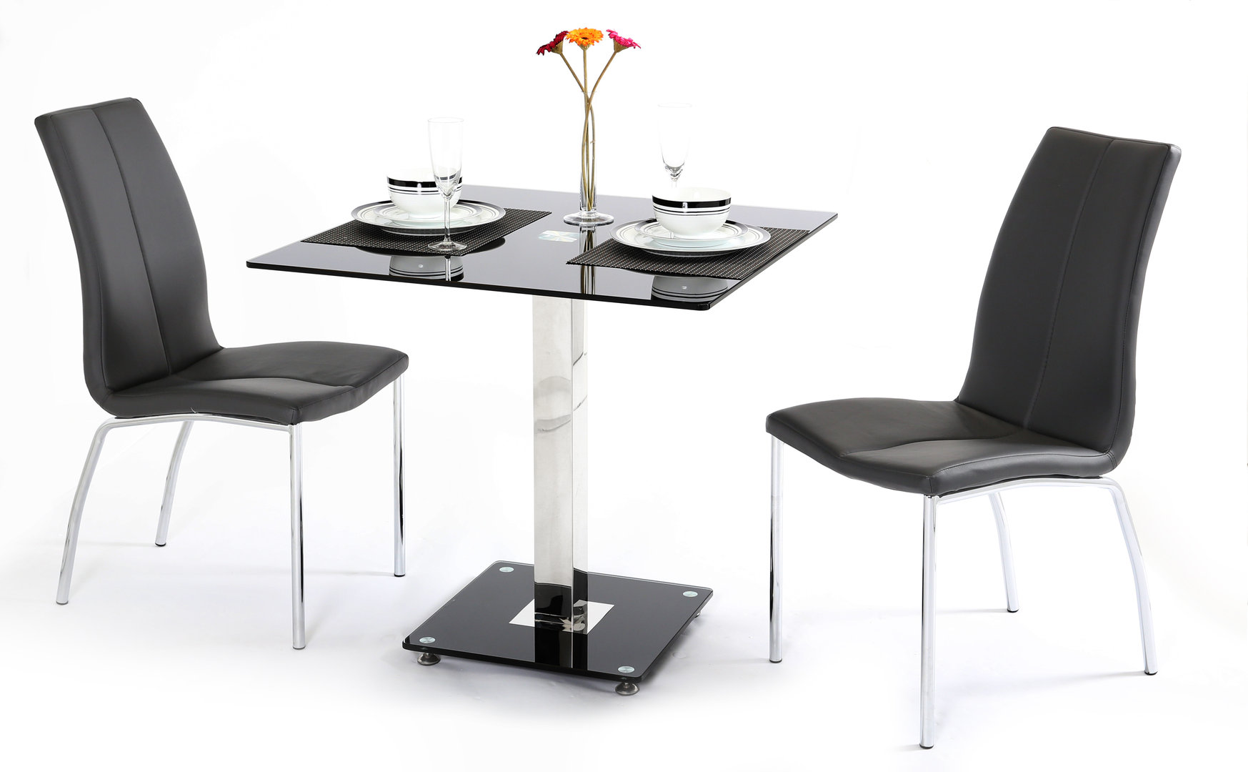 Black Glass Dining Table And 2 Chairs