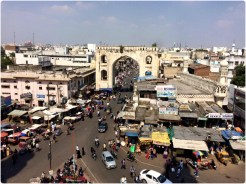 The bazaars and local neighborhoods from a birds view at Charminar
