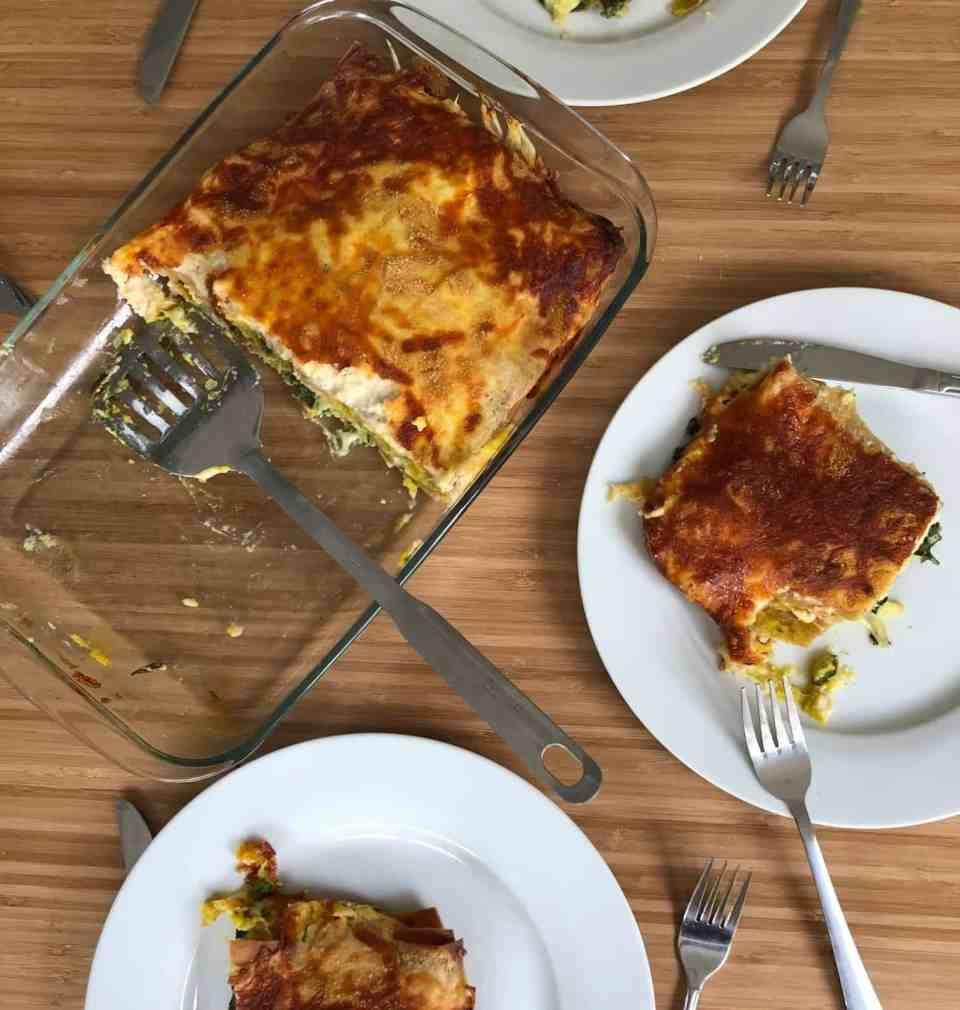 Pumpkin and Mixed Greens Lasagna