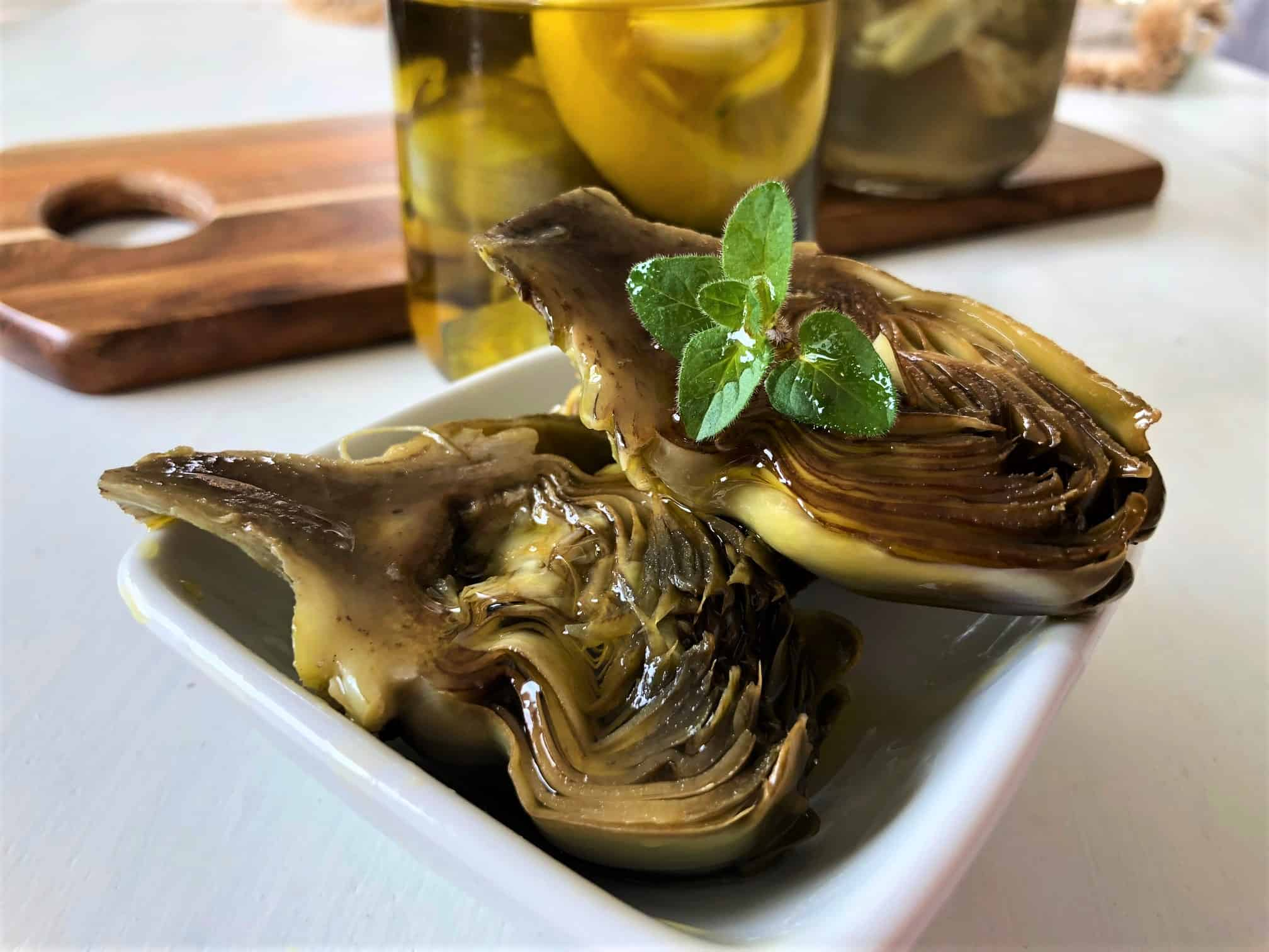 Olive Oil Poached Artichokes with Oregano and Lemon