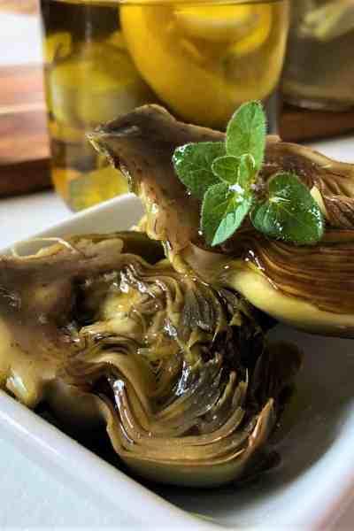 Olive Oil Poached Artichokes with Oregano and Lemon OR A Simple Lemon Brine