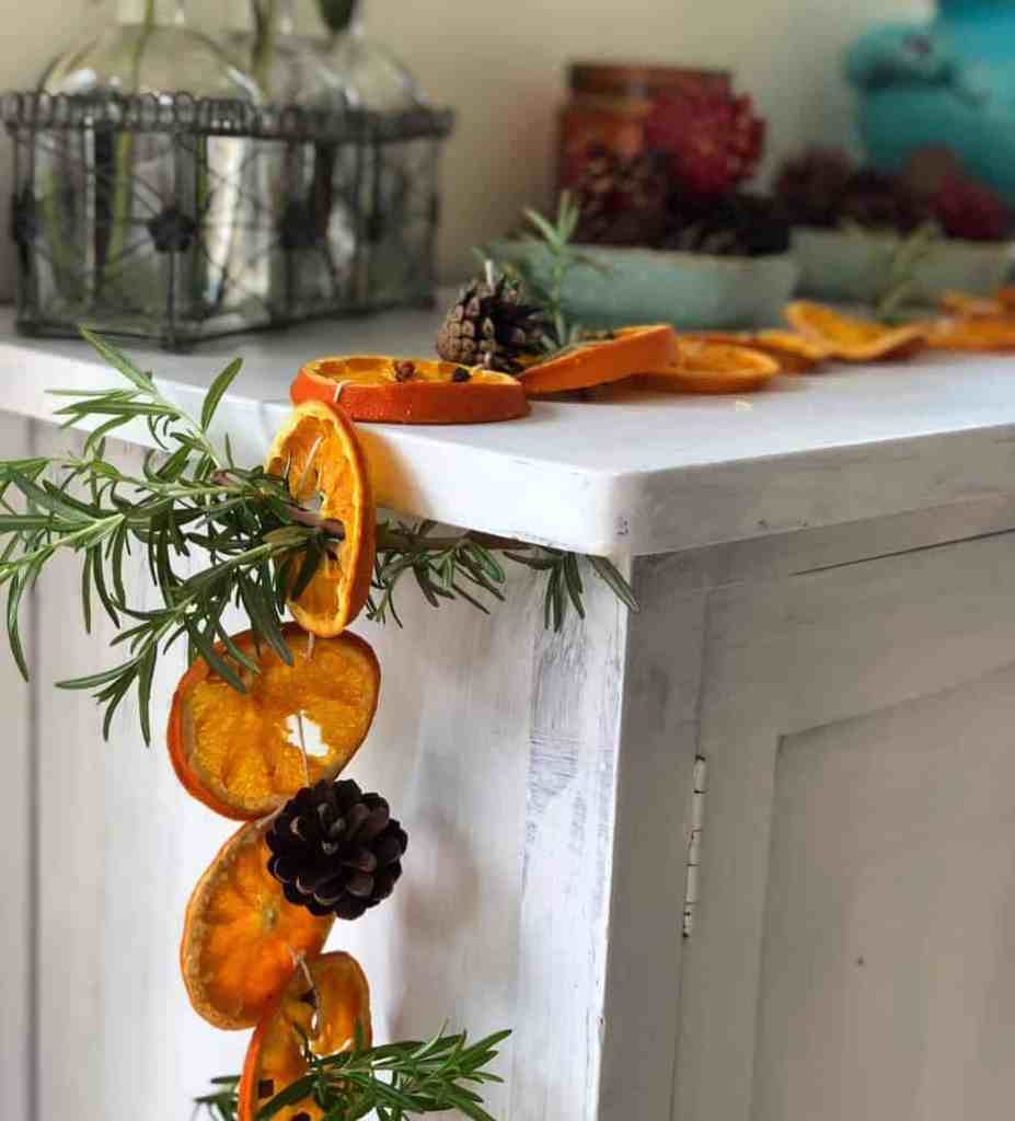 Dried Orange And Clove Garland With Rosemary Sprigs Home Grown