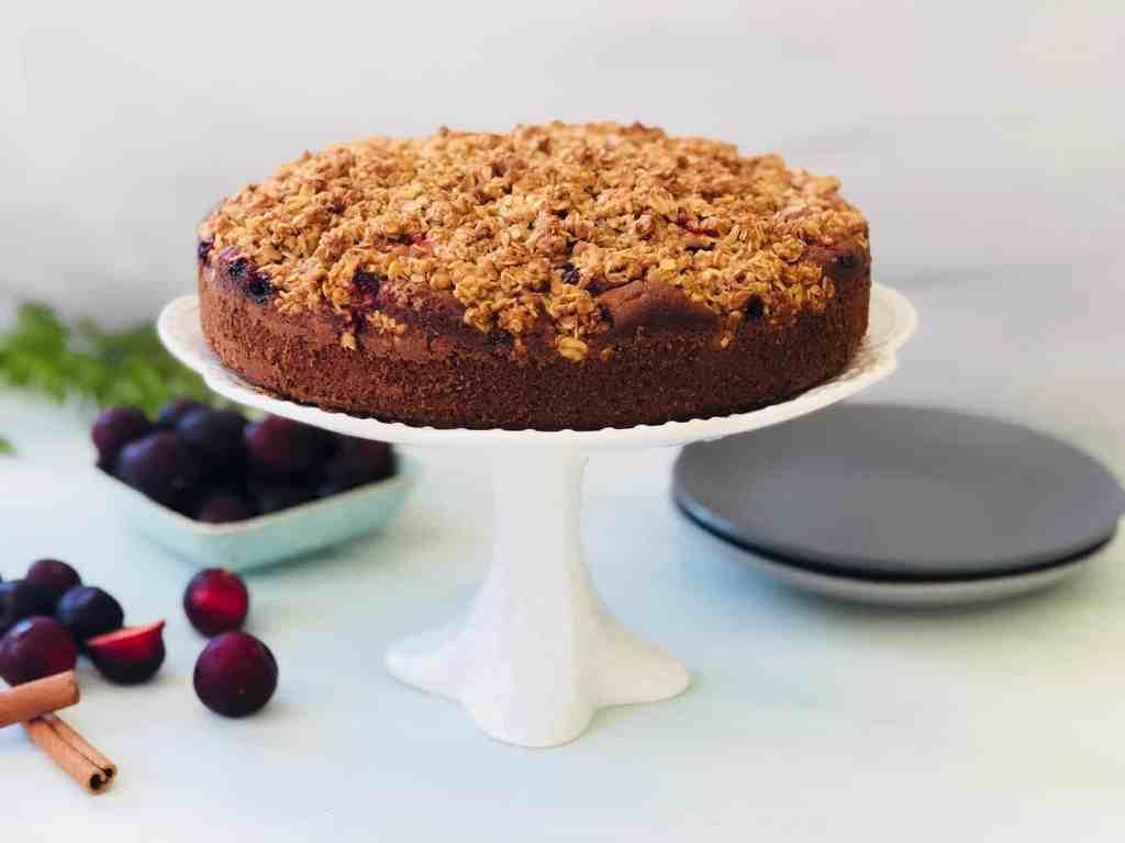 Spiced Plum Crumble Cake