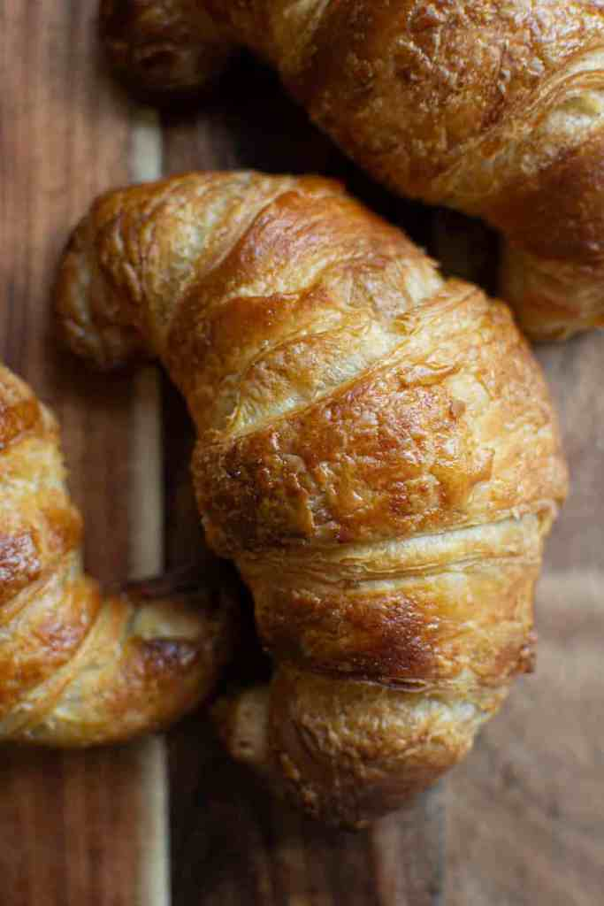 close up of sourdough croissants