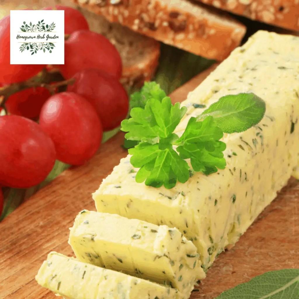 herb butter as an oblong