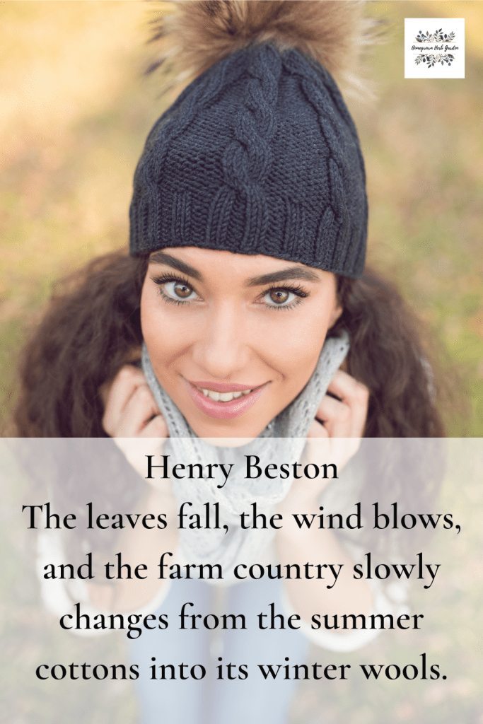 Henry Beston The leaves fall, the wind blows, and the farm country slowly changes from the summer cottons into its winter wools.