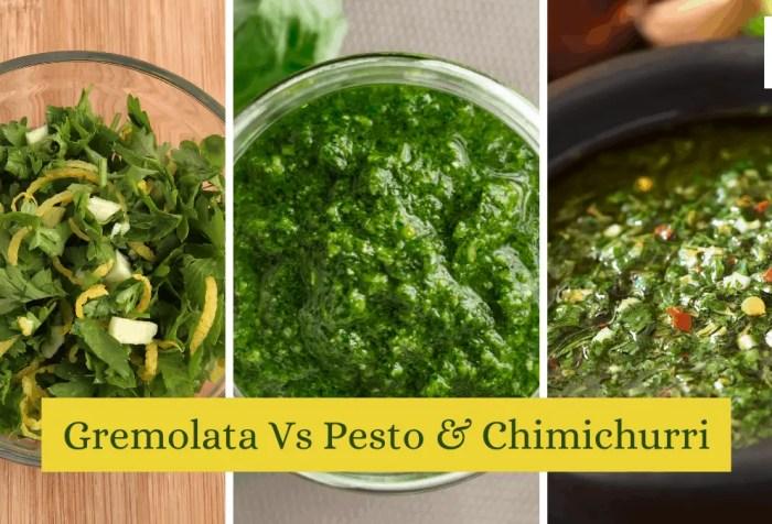 gremolata vs pesto and chimichurri
