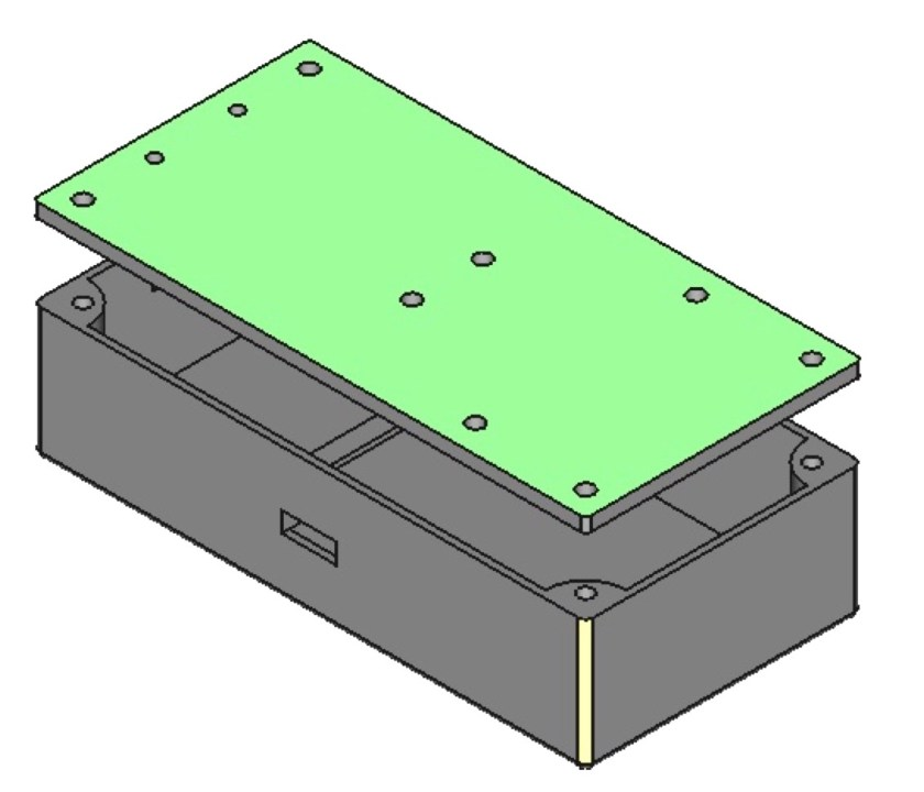 Enclosure (bottom and lid) for the battery, amplifier and Powerboost 500c designed in FreeCAD.