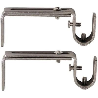 kenney 2 pack 3 5 5 5 adjustable satin nickel curtain rod bracket