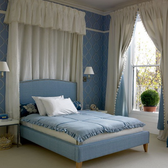 Luxurious blue and white bedroom