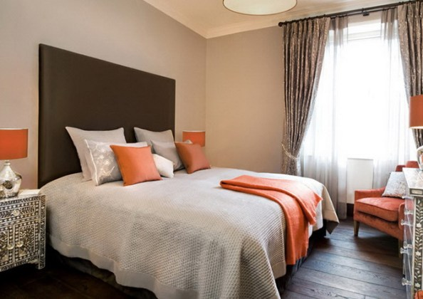 Gentle peach color in the interior   Ideas for Home Garden Bedroom     In the bedroom which will