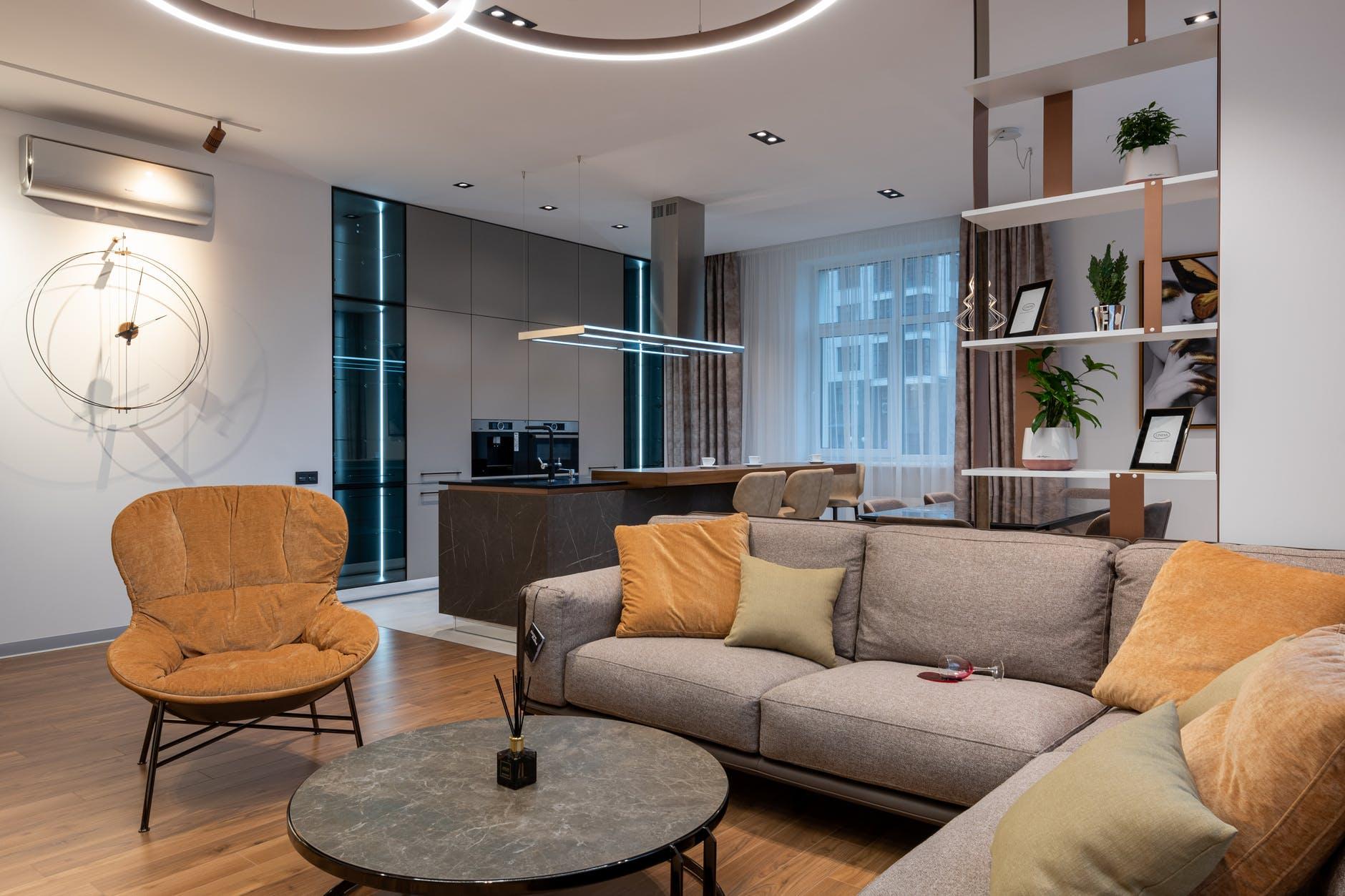 bright modern room interior in studio