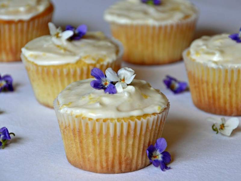 Lemon Cupcakes Decorated with Wild Violets