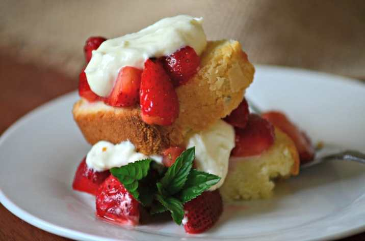 Lemon Pound Cake with Mint Berries and Cream