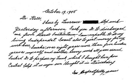 1945 Lawrence Mocha handwritten letter demanding paid release after 20 years of labor at Willard