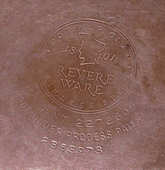 Close up of Revere Ware Stamp on Cooper pan