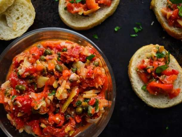 Roasted Red Pepper Artichoke Bruschetta