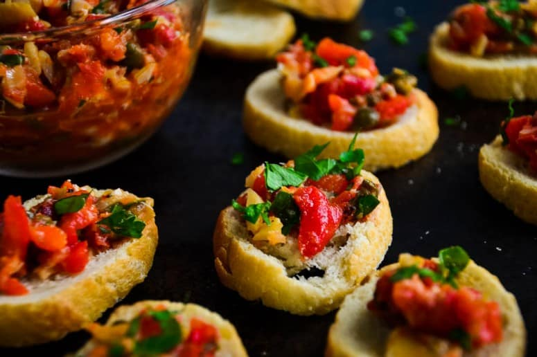 Roasted Red Pepper Artichoke Bruschetta