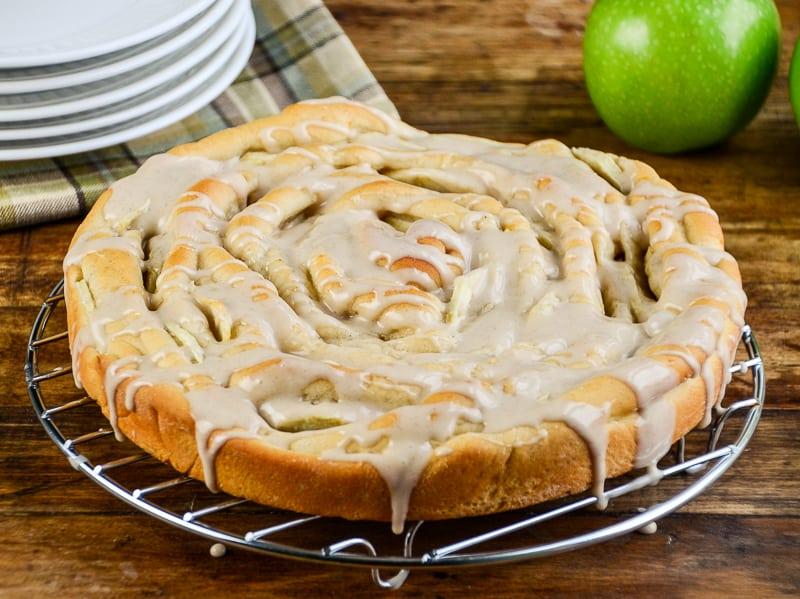 Spiral Apple Bread with Cinnamon Glaze