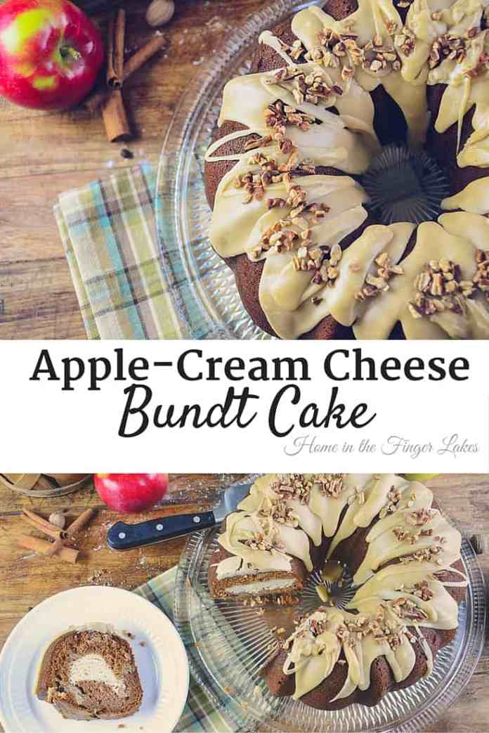 A  deliciously moist apple bundt cake with cream cheese filling and praline frosting.