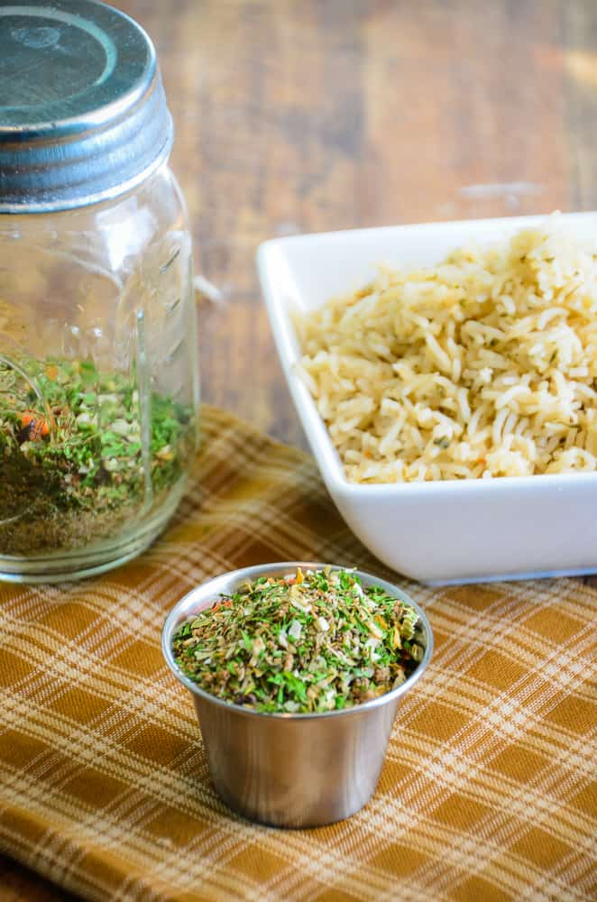 Next time you cook rice add some flavor! Homemade Rice Seasoning Mix turns boring rice into a quick and easy side dish.