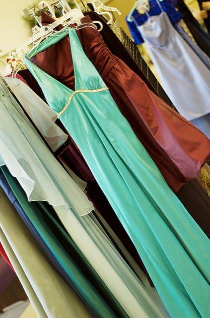 Rack of Prom Dresses on Hangers