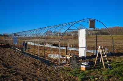 The hoop house after we had just removed the old plastic sheeting
