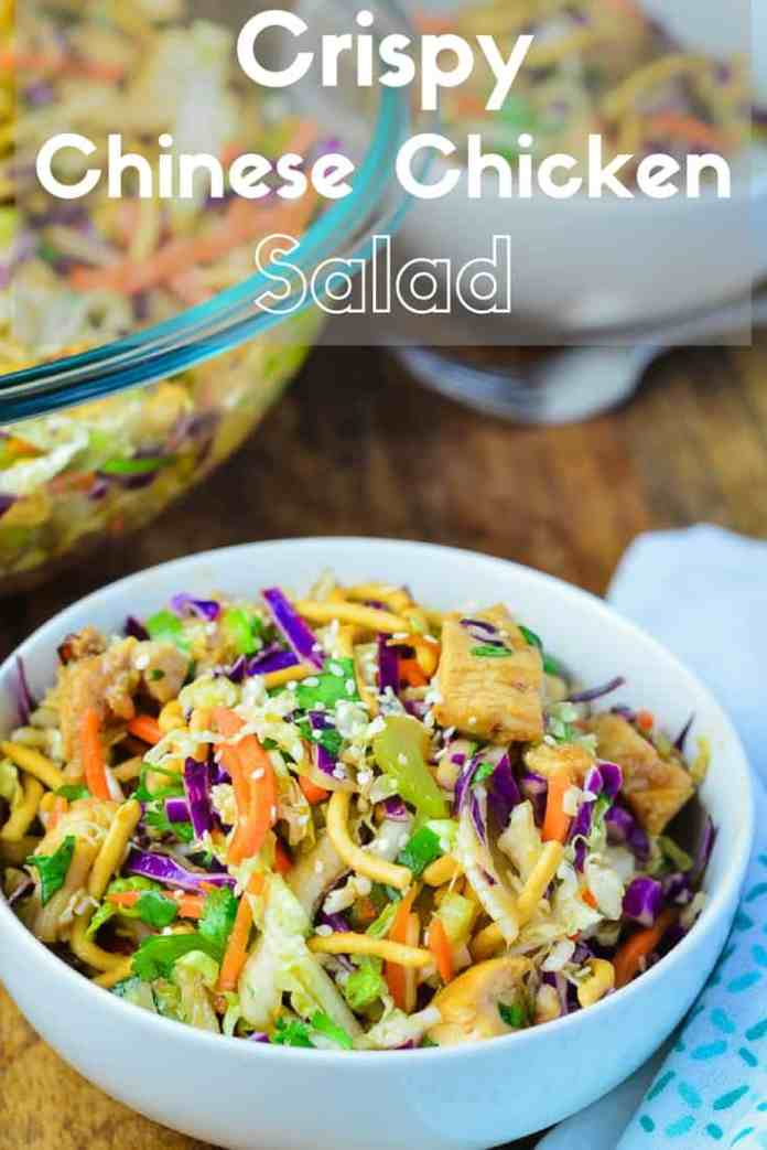 Always a hit at picnics, Crispy Chinese Chicken Salad with an easy homemade hoisin and ginger flavored vinaigrette.