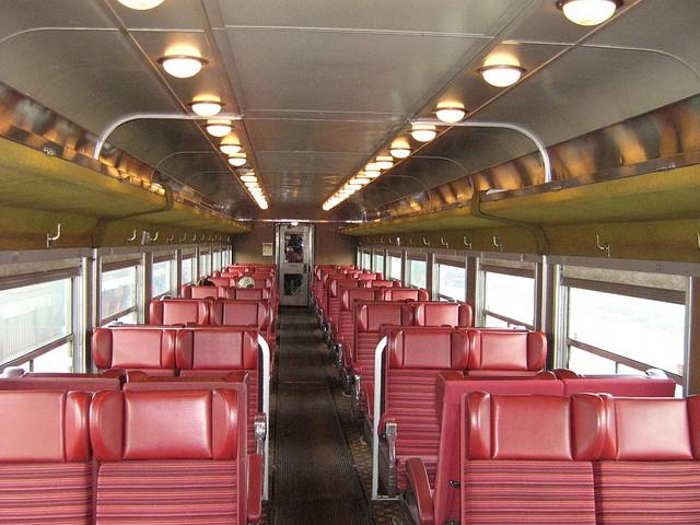 Adirondack Scenic Railroad Interior of an ex- VIA/CN coach.