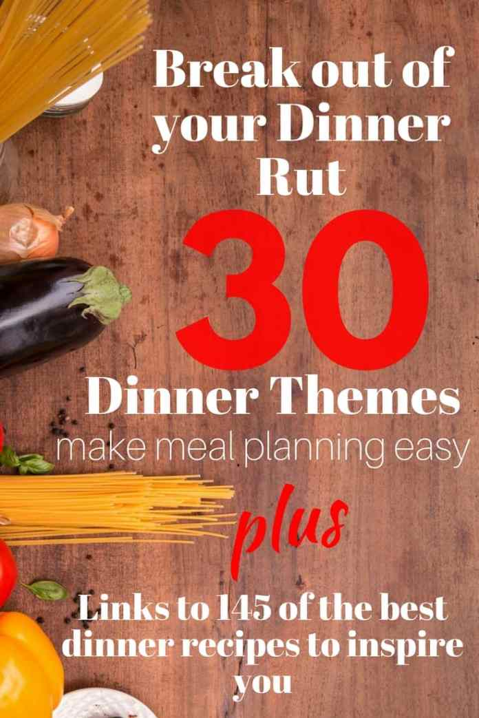 Break out of your dinner rut with this simple and efficient meal planning strategy! Use dinner theme nights to narrow down meal ideas into categories and assign those types of meals to a  day of the week.