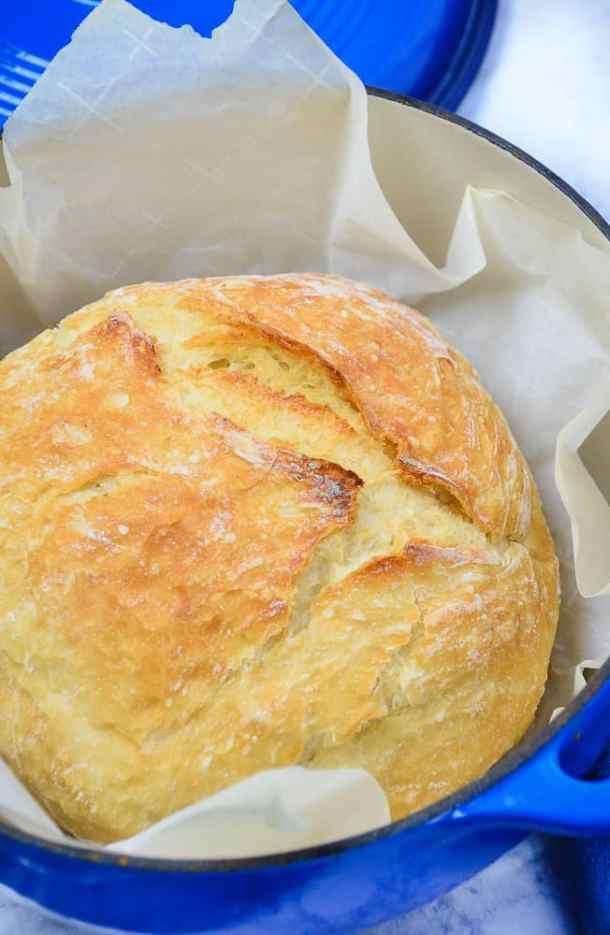 No knead bread in a blue dutch oven.