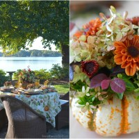 An Alfresco Fall Table with Blooming Pumpkins