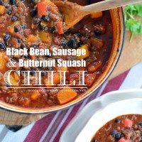Chilly Weather Black Bean, Sausage and Butternut Squash Chili