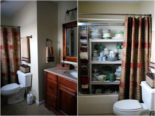 shower dish storage