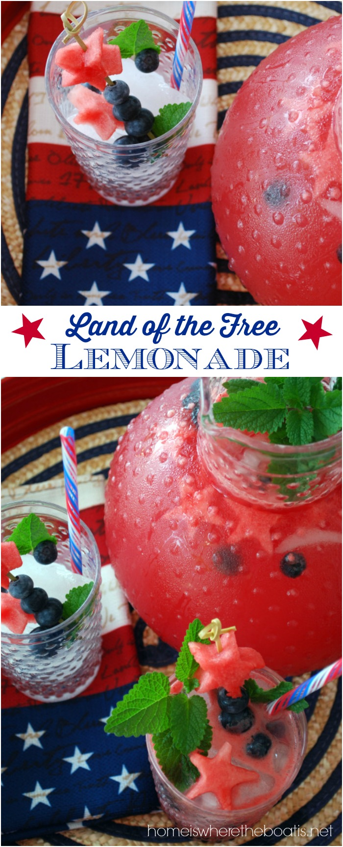 Land of the Free Lemonade | ©homeiswheretheboatis.net #4thofjuly #patriotic #recipes #watermelon