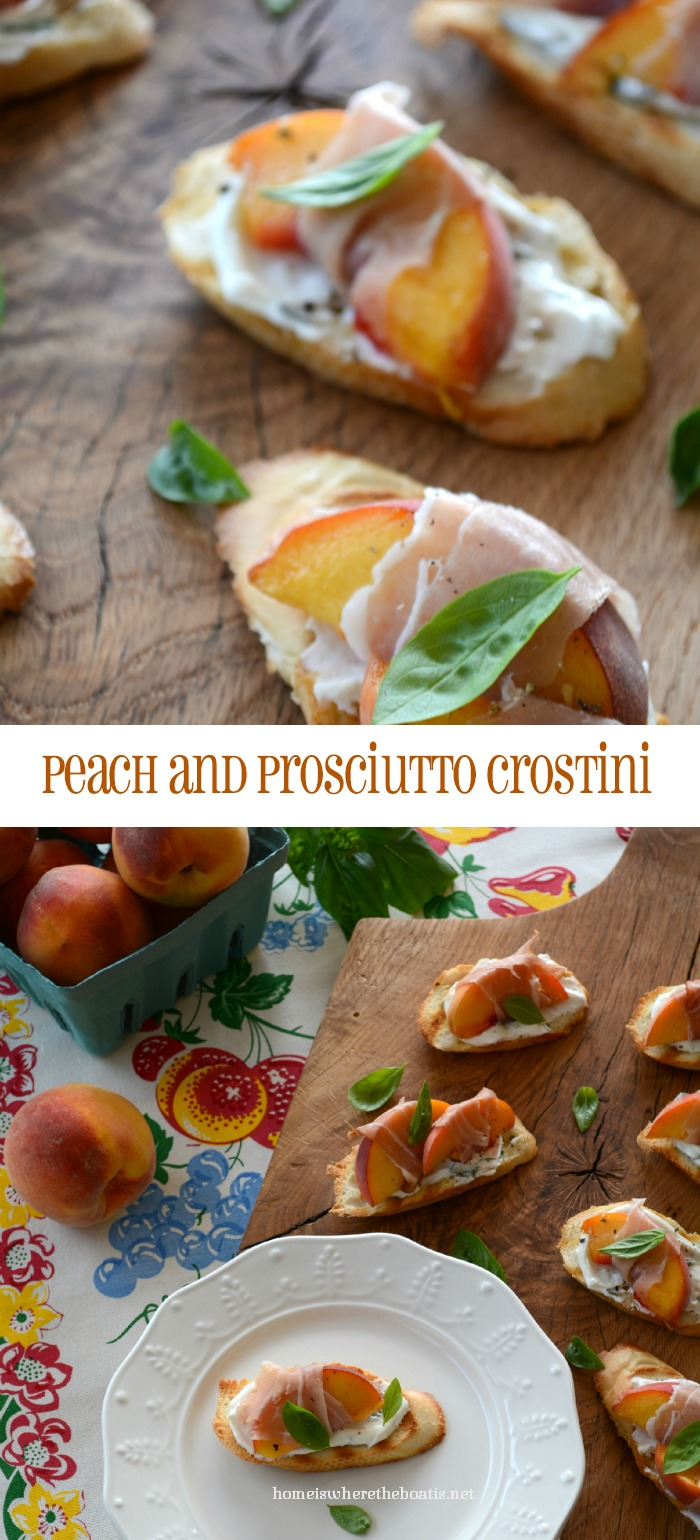 Peach and Proscuitto Crostini with Basil & Goat Cheese