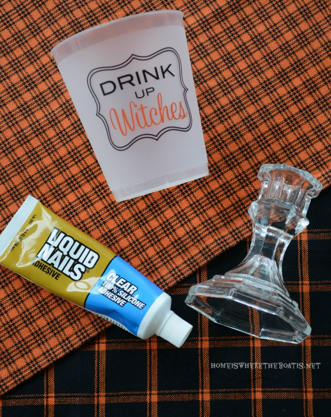 DIY Drink Up Witches Cup | ©homeiswherethebotis.net #halloween #tablescapes #witch #alfresco