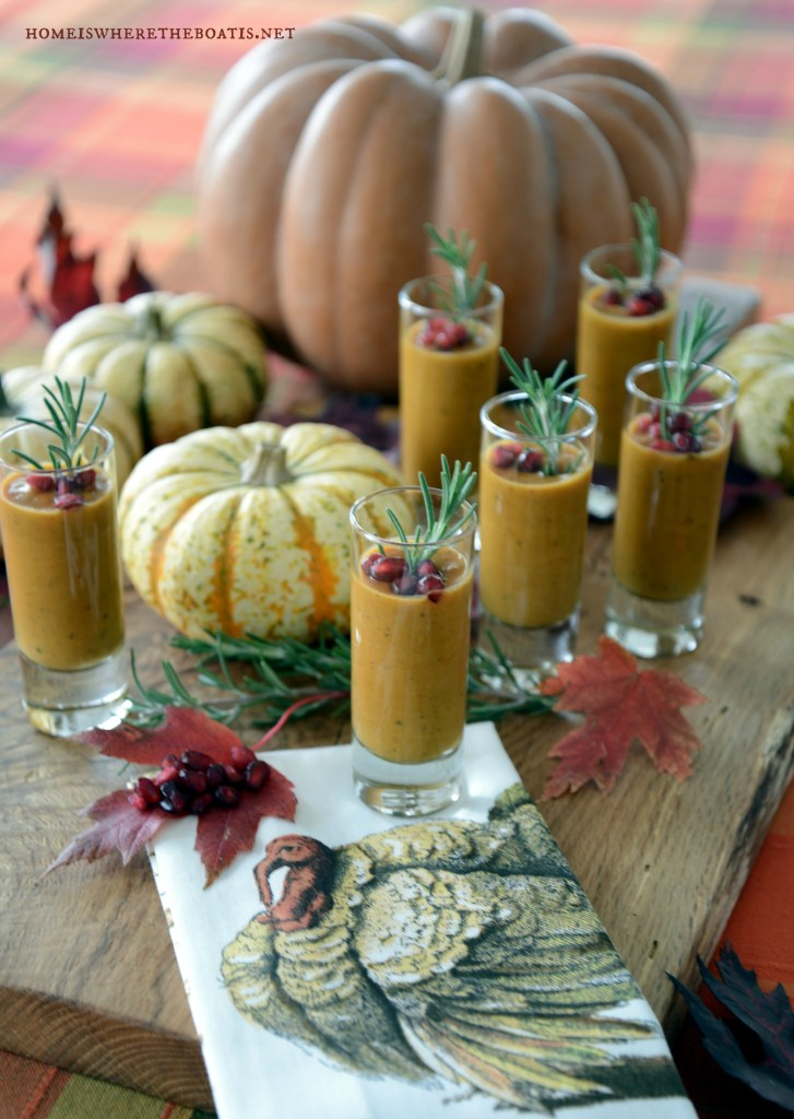 Roasted Butternut-Apple and Pumpkin Soup Shooters