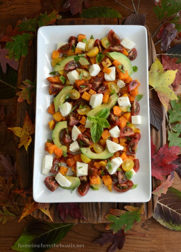 Butternut Caprese Salad | ©homeiswheretheboatis.net #recipes #fall