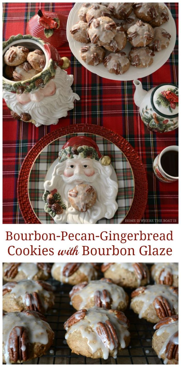 Bourbon-Pecan-Gingerbread Cookies! This cookie has a fluffy, muffin-like texture with a bourbon glaze on top! | homeiswheretheboatis.net
