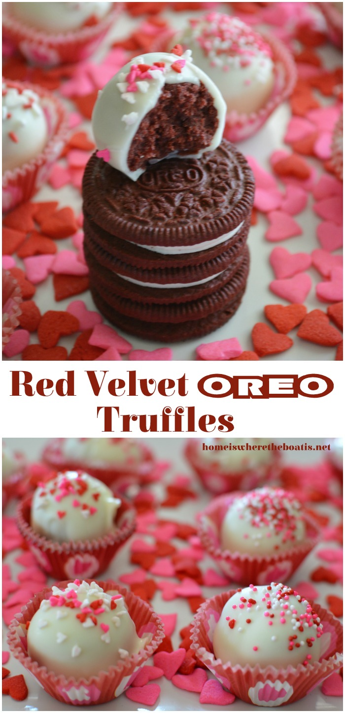 Red Velvet Oreo Truffles! A no-bake, easy treat for Valentine's Day! | homeiswheretheboatis.net