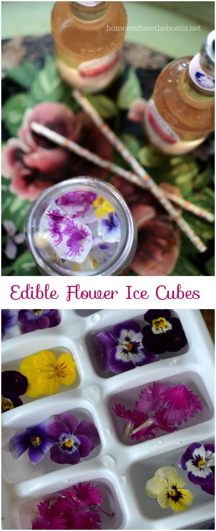 Edible Flower Ice Cubes | homeiswheretheboatis.net #edibleflowers #garden #party