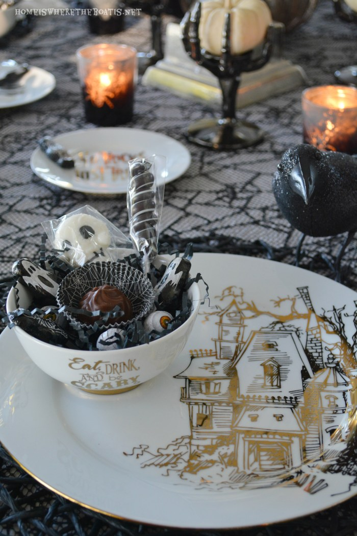 All Hallows' Eve Tablescape: Eat, Drink, and Be Scary | homeiswheretheboatis.net #Halloween #tablescape