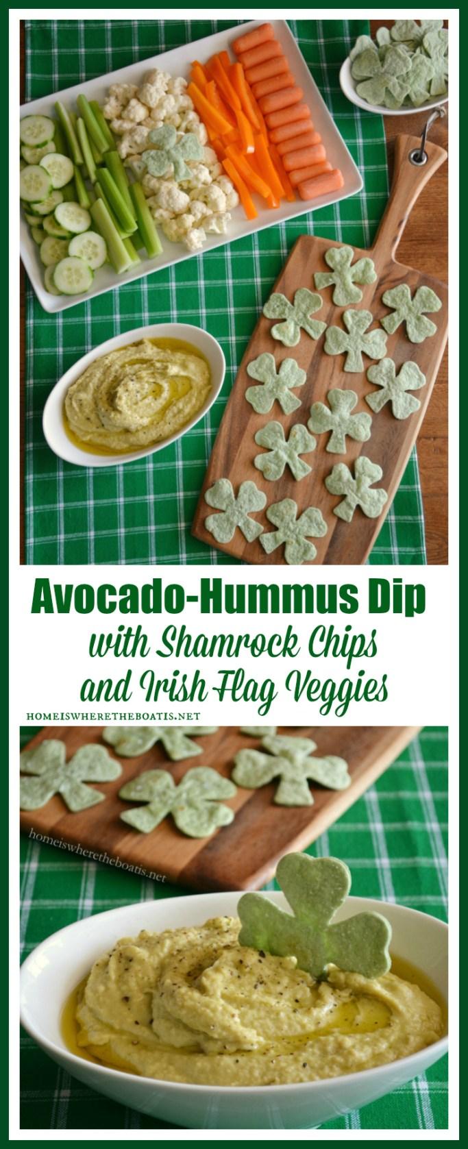 Avocado-Hummus Dip with Shamrock Chips and Irish Flag Veggies