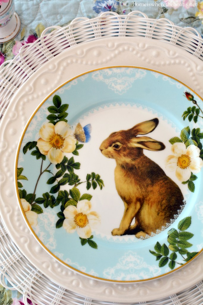 An Easter Celebration with Bunnies, Eggs, Birds and Blooms | ©homeiswheretheboatis.net #easter #tablesetting #tablescapes #bunny