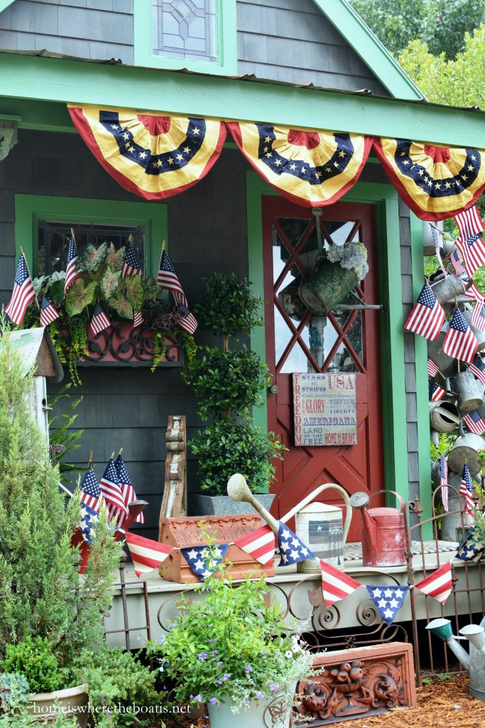 Potting Shed decorated for Independence Day and to celebrate the Red, White and Blue | homeiswheretheboatis.net #patriotic #flag #4thofjuly #pottingshed